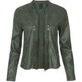 One Two Luxzuz Jungle Green Athena suède coated jacket met ritsjes.