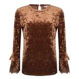 Esqualo Top crashend velvet lace brown
