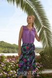 Tramontana Skirt Tropical Print Black Wrap
