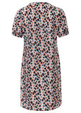 Dayz Xene - Geprinte jurk met ruffel aan de nek en smock mouwen