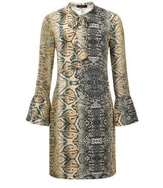Dayz Micky - Slangenprint jurk met een strik op de ronde hals