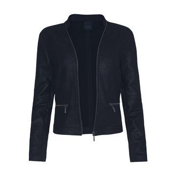 One Two Luxzuz Donker Blauw Maise suède coated jacket