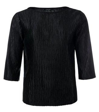 Dayz Riann - Plisse 3/4 mouw top in zwart