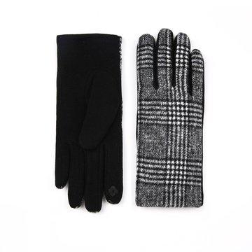 Handschoenen in het zwart/wit geblokt