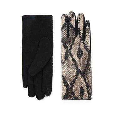 Handschoenen met beige slangen print