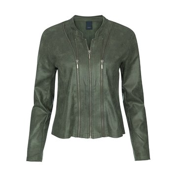 One Two Luxzuz Jungle Green Athena suède coated jacket met ritsjes.