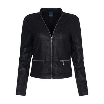 One Two Luxzuz Zwart Maise suède coated jacket