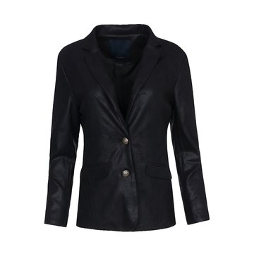 One Two Luxzuz Zwart Maica Coated Suede Jacket