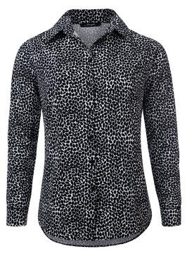 Dayz Carlijn - Mooie zwart/witte blouse van travelstof met lange mouwen
