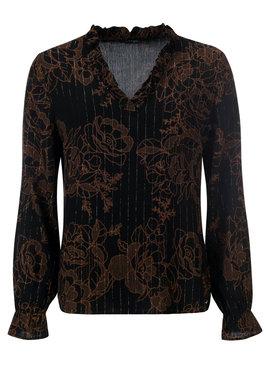 Dayz Cassidy - Mooie zwart/bruine blouse met lurex draadje
