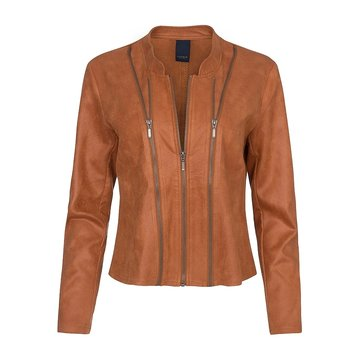 One Two Luxzuz Cognac Athena suède coated jacket