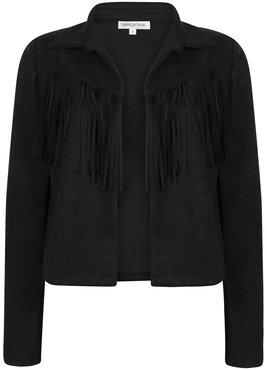 Tramontana Jacket Suedine Fringes Black