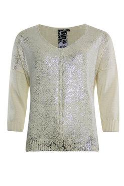 Poools Sweater V neck Ivory 013128