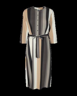 Freequent Siga-dr-3/4-melany jurk zwart gestreept
