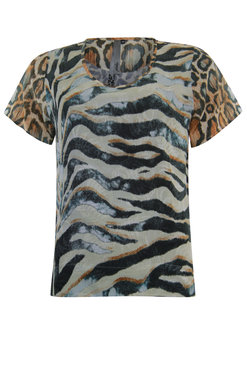 Poools Blouse printmix Animal stripe 013190