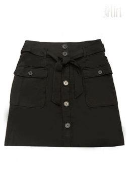 Freequent Nanni-sk-pocket zwarte rok met knopen