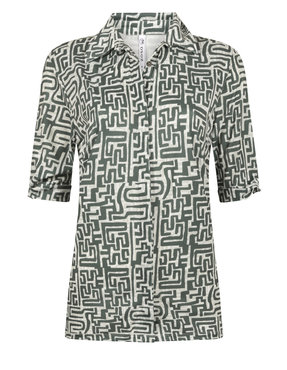 Zoso Mercury Printed travel blouse with bow Greenstone
