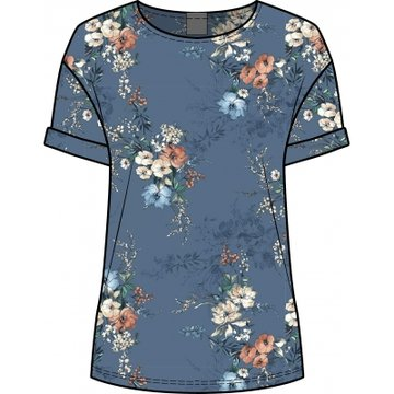 One two luxzuz Karin T-Shirt Vintage Blue Bloemprint