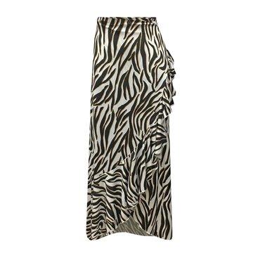 Flirt Maxi overslag rok met zebra print van travelstof