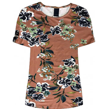 One two luxzuz Karin T-Shirt Vintage Rosewood Bloemprint