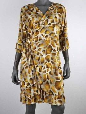Flirt Korte Jurk Gele Giraf print van travel stof