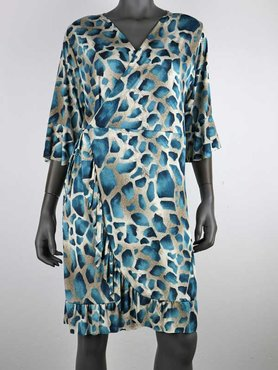 Flirt Korte Jurk Blauwe Giraf print van travel stof