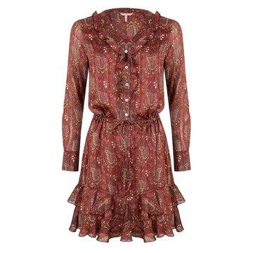 Esqualo Dress ruffle paisley print Plum