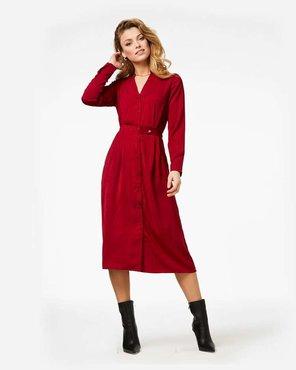 Freebird Stine Red Midi Dress Long Sleeve Flower