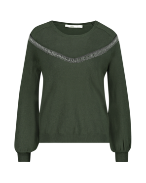 Aaiko Grazia Fringe Vis 301 Army Green Sweater-