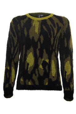 Poools Sweater Jacquard geel met zwarte print