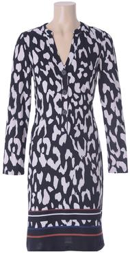 K-Design jurk R205 met met knopen en zwart/wit print
