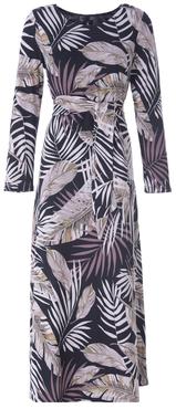 K-Design Maxi jurk R202 met ronde hals met knoop en print
