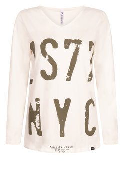 Zoso Suus shirt met print Off white/army
