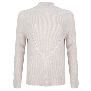 Esqualo Sweater cable V half cardigan Beige