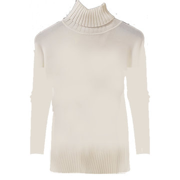Esqualo Sweater col high rib hem & cuff off white