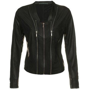 One Two Luxzuz zwart Athena suède coated jacket met ritsjes.