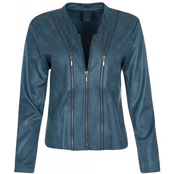 One Two Luxzuz Aque Blue Athena jacket met ritsjes.