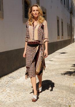 Tramontana Dress Midi Mixed Graphic Print