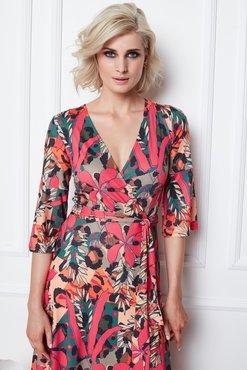 K-Design Midi jurk met riem en print