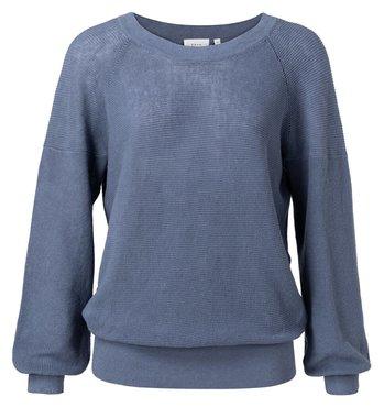 Yaya Cotton linen blend structure knitted sweater Washed Indigo Blue
