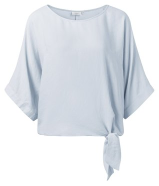 Yaya Oversized top with kimono sleeves and knotted detail light blue