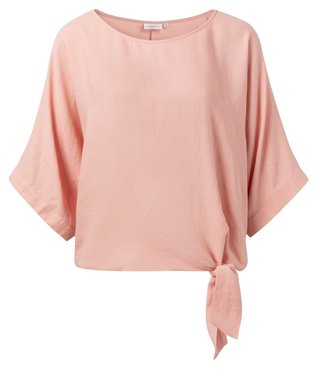 Yaya Oversized top with kimono sleeves and knotted detail pink blush