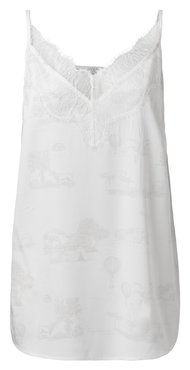 Yaya Woven strap singlet with lace and story print
