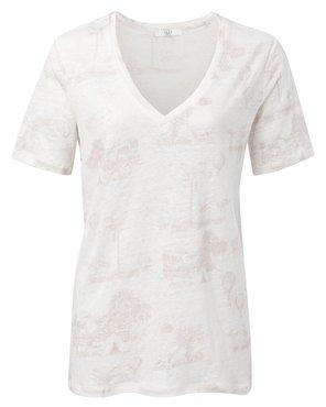 Yaya Linen V-neck T-shirt with story print