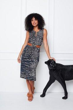 K-Design Mouwloze jurk met Print