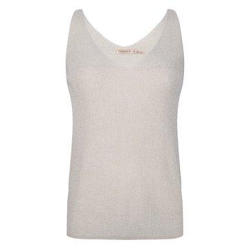 Esqualo Camisole V-neck rib lurex Off white