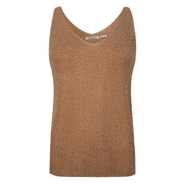 Esqualo Camisole V-neck rib lurex Cinnamon