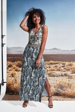 K-Design Maxi jurk V-hals met slangenprint