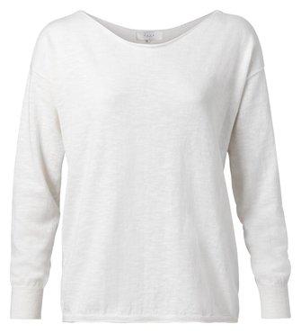 Yaya Cotton blend boat neck sweater blanc