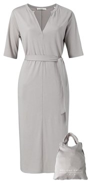 Yaya Jersey belted dress with pockets Silver